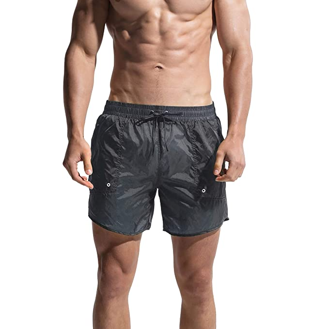 7b76f6bcfd GOGOHOT Men's Super Thin Transparent Solid Board shorts With Pocket grey  Medium