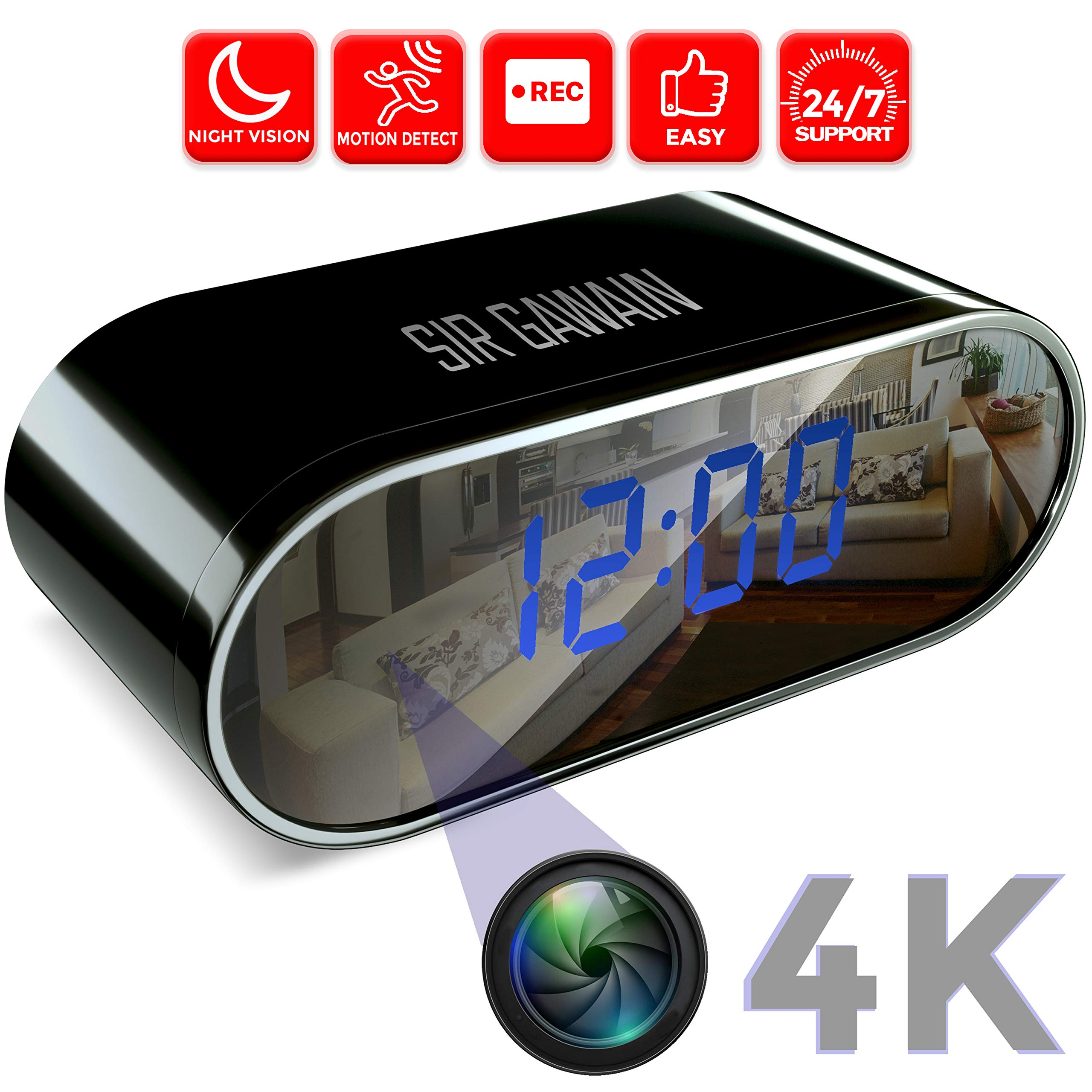 SIRGAWAIN Hidden Spy Camera Clock | 4K Video | Nanny Cam | Home Surveillance | Small Personal Security | Night Vision and Motion Detection | Wide 150° Viewing Angle by SIRGAWAIN