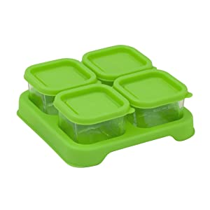 Green Sprouts Reusable Baby Food Glass Containers Freezer Cubes (2oz/4pk)-Green