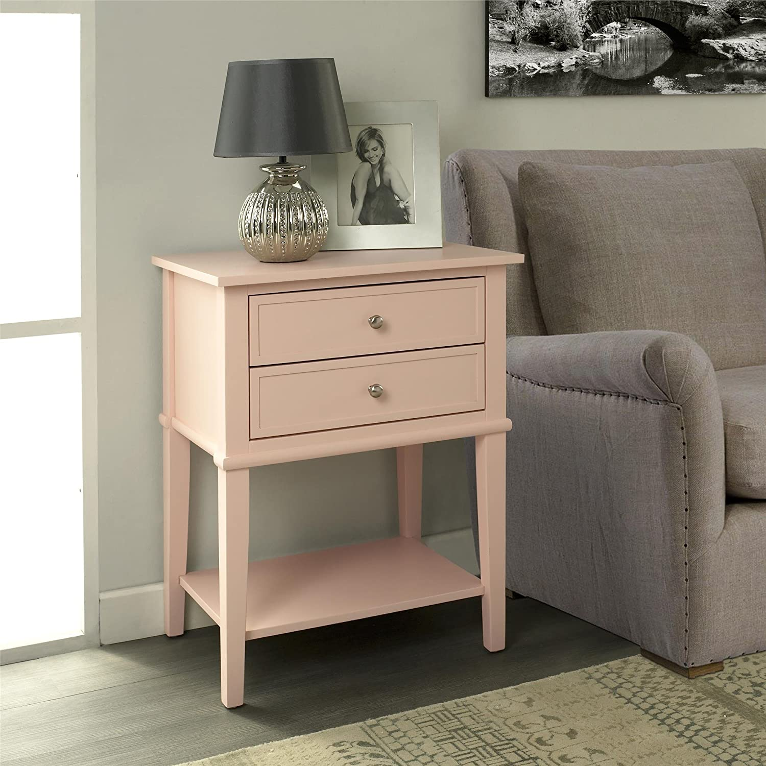 Gray Dorel Home Furnishings 5062196PCOM Ameriwood Home Franklin Accent Table with 2 Drawers