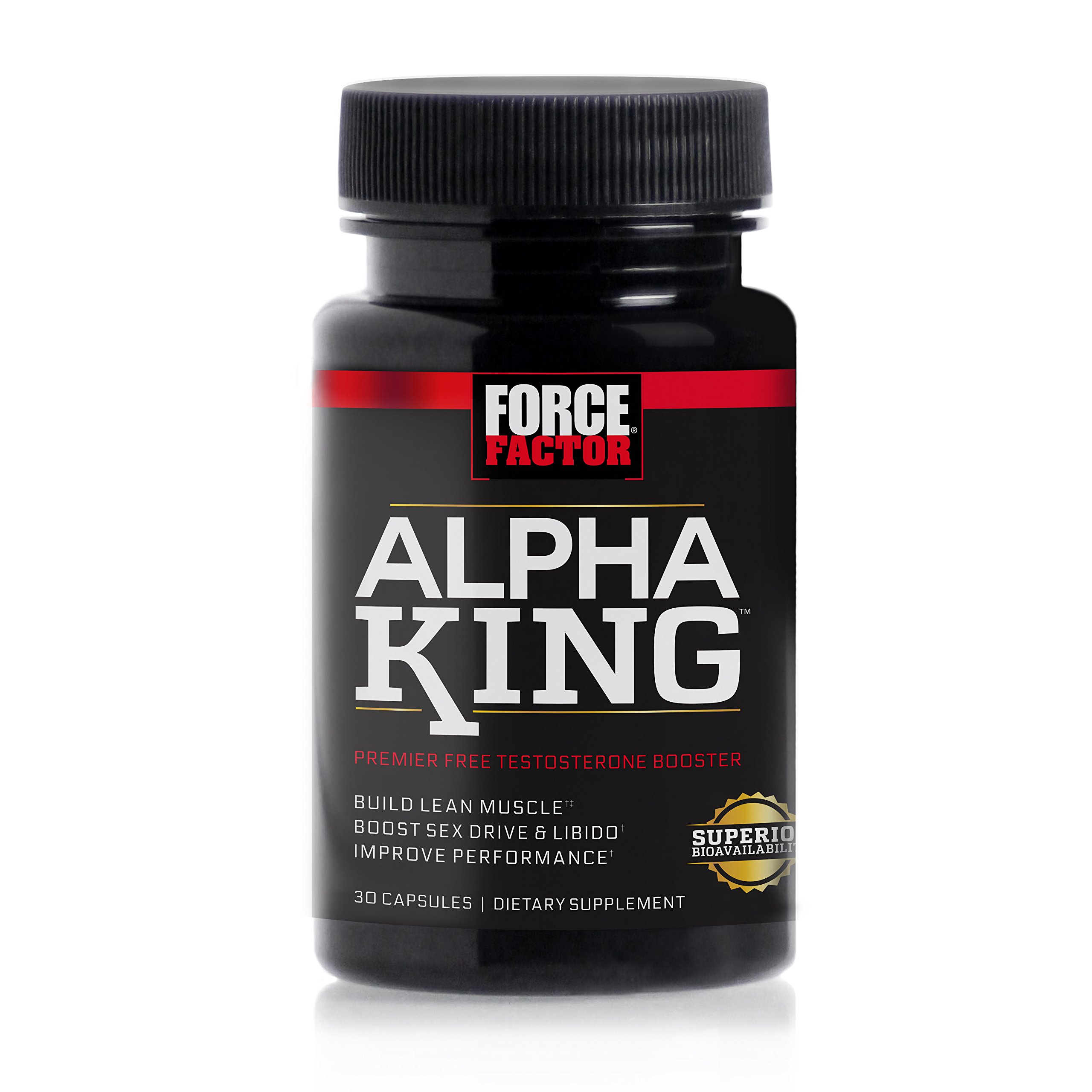 Alpha King Free Testosterone Booster Featuring AlphaFen to Increase Passion & Drive, Build Lean Muscle, & Improve Performance, Force Factor, 30 Count