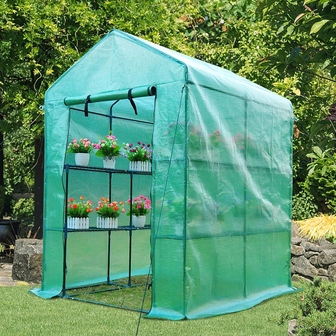 Outsunny Invernadero de Jardín Vivero Casero Plantas con 3 Pisos 143x143x195cm Marco Acero Jardinería Invernadero Verde: Amazon.es: Jardín