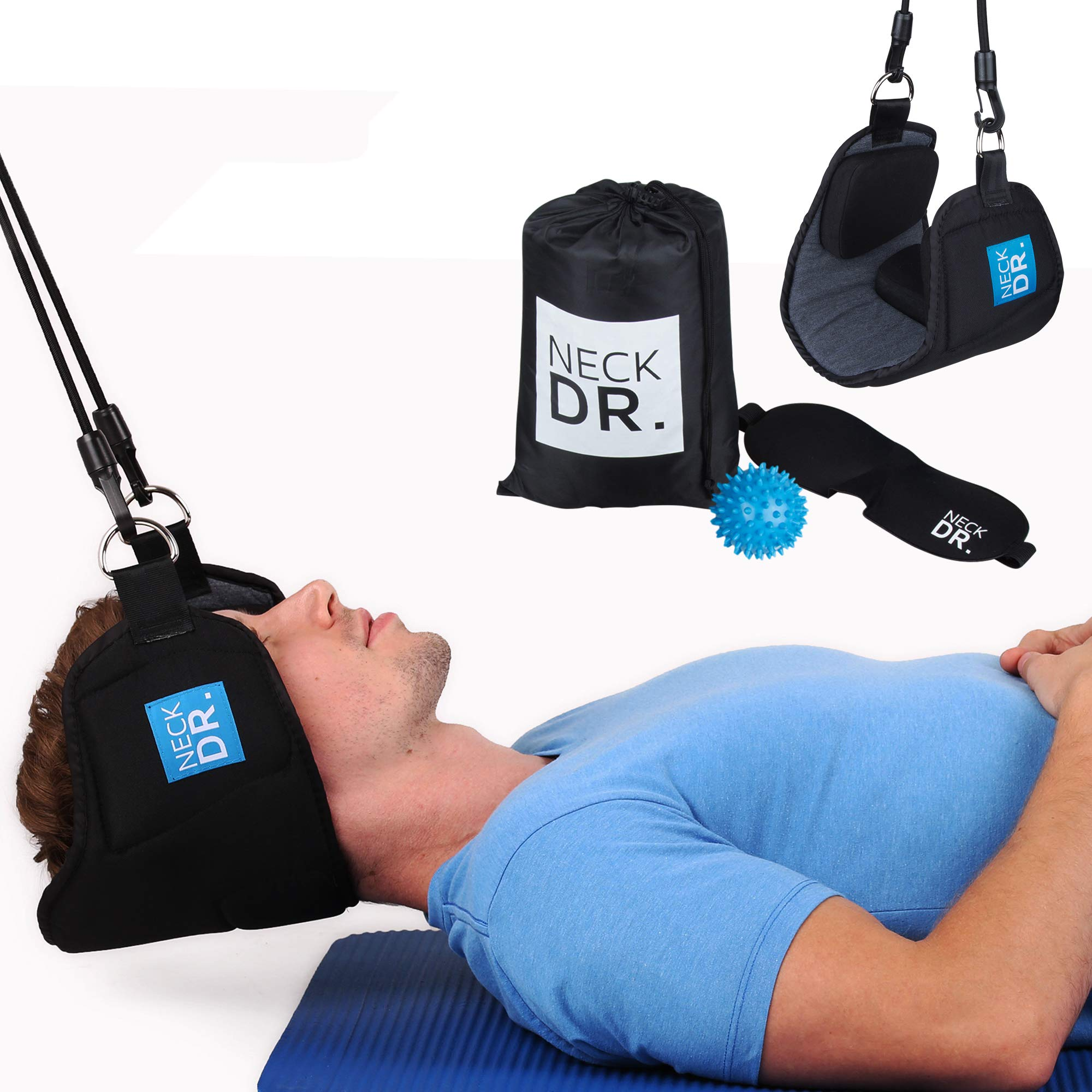 NECK DR. Premium Neck Hammock/Portable Traction Device – Neck Comfort, Cervical Compression Relief, Relaxation Device – Bonus Items: Neck Dr. Brand Eye Mask and Spiky Massage Ball by Neck Dr. (Image #1)
