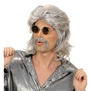 NET TOYS Perruque homme grise années 70 avec