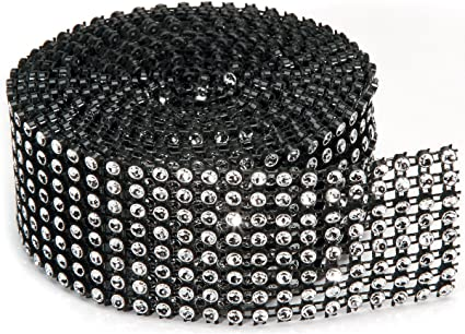 BLACK Mesh /& SILVER Ribbon Tape 1.37 In x 2 Yards 8-row Darice BLING ON A ROLL