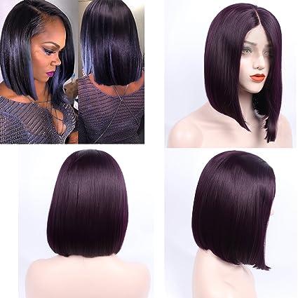 Peluca de pelo sintético de ZeroBlizzard, color bermellón, encaje frontal, con pelo de