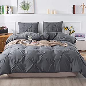 Litanika Dark Grey Pinch Pleat Duvet Cover King (104x90 Inch), 3 Pieces (1 Duvet Cover, 2 Pillow Cases) Bedding Set, Smooth Microfiber Pintuck Gray Duvet Cover Set with Zipper Closure, Corner Ties