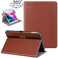 Ztotop iPad 9.7 Inch 2017/2018 Case,[360 Degree Rotating/Genuine Leather] with Auto Wake/Sleep,Pencil Holder,Hand Strap for New Apple iPad Education,iPad 9.7 2017,iPad Air 2,Brown