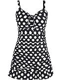 Septangle Women's One Piece Flower Printing Swimsuit Shaping Body Swimdress Skirt Type Tankinis Ruffled Hem Beachwear