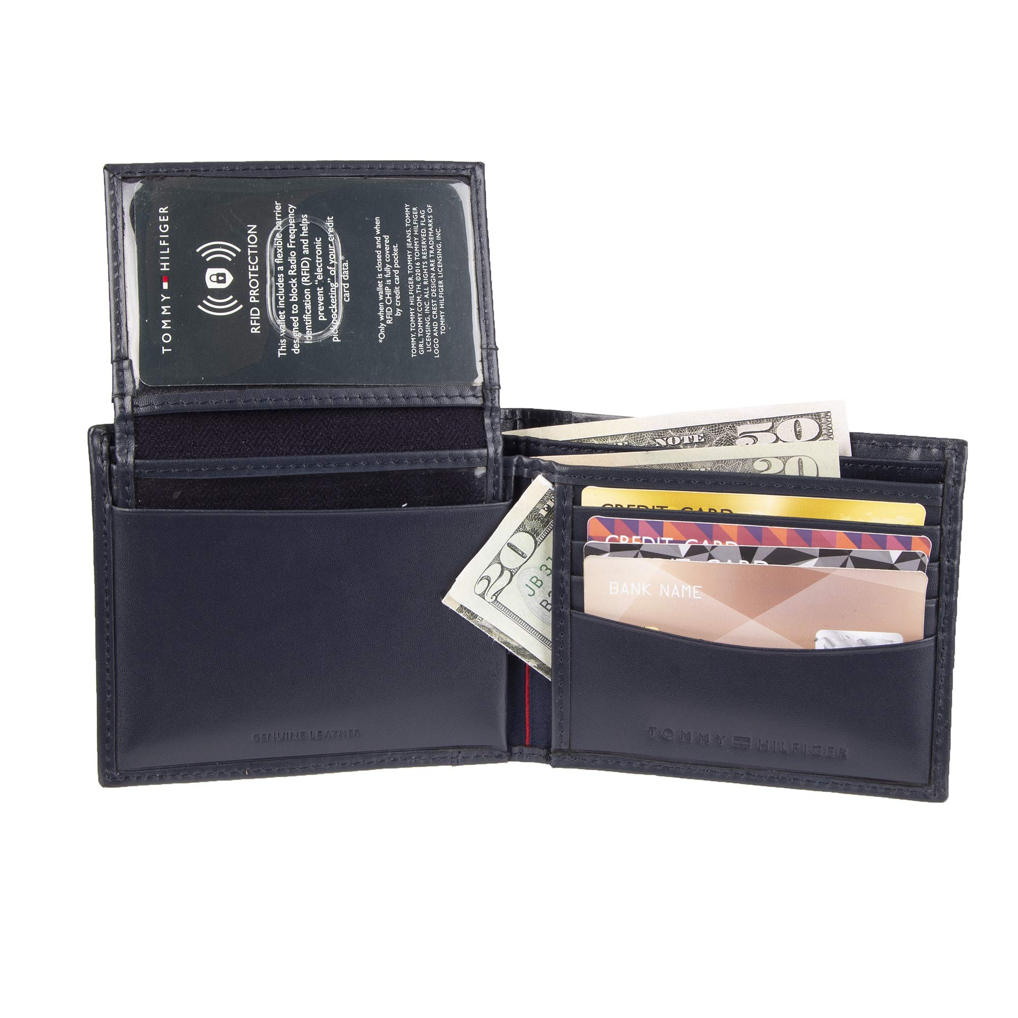 Tommy Hilfiger Men's Leather Wallet - RFID Blocking Slim Thin Bifold with Removable Card Holder and Gift Box, Navy Casual by Tommy Hilfiger (Image #3)