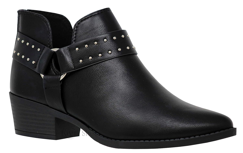 MVE Shoes Women's Cute Western Cowboy Bootie -Back Zipper up Low Heel Shoes