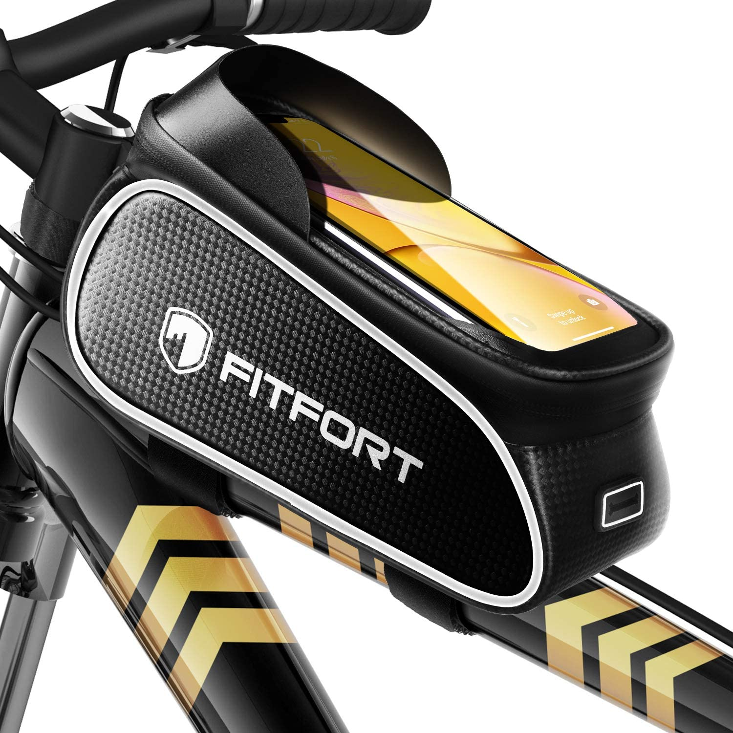 Fitfort Bike Frame Bag Waterproof Bike Accessories With Touch Screen Case Large Capacity Bike Phone Bag With Sun Visor For Iphone Samsung And Android Phones Under 6 7 Amazon Co Uk Sports Outdoors