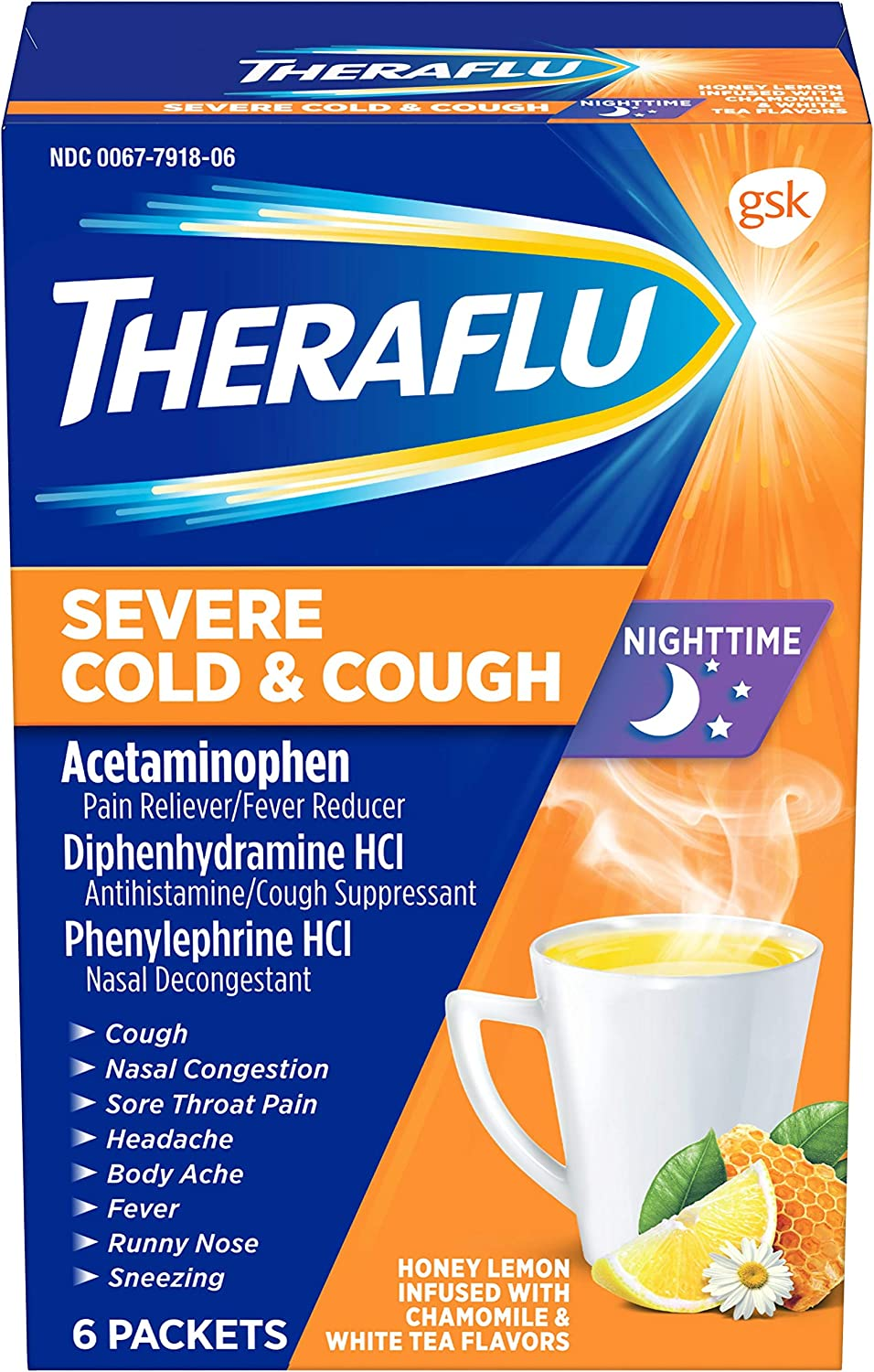 Theraflu Severe Cold and Cough Medicine for Adults and Children 12+, Multisymptom Nighttime Cold and Flu Relief Powder Packets, Honey Lemon Infused with Chamomile and White Tea Flavors - 6 Count
