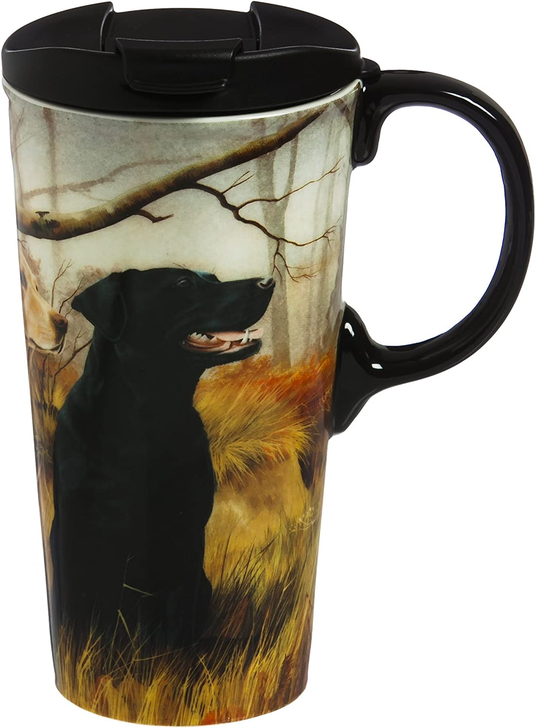 Black & Yellow Dogs 17 OZ Ceramic Perfect Cup - 4 x 5 x 7 Inches