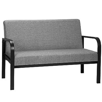 Woltu Sofá de Ocio sillón Tapizado 2 Asientos con Tela,Gris ...
