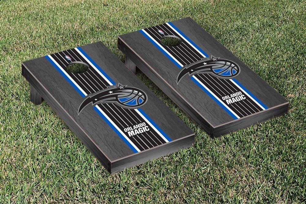 Orlando Magic NBA Basketball Regulation Cornhole Game Set Onyx Stained Stripe Version by Victory Tailgate