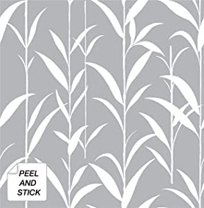 NextWall Bamboo Leaves Peel and Stick Wallpaper (Gray)