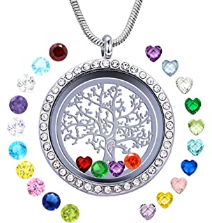 JOLIN Family Tree of Life Floating Charm Living Memory Lockets Necklace DIY  Stainless Steel Pendant with a18d3376d949