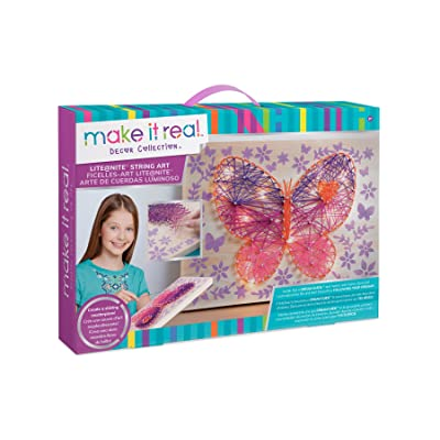 Make It Real - Lite@Nite String Art. LED Light and String Wall Art Kit for Kids Includes Wood Canvas, LED Lights, Paint, Pins and String, and Stencil: Toys & Games