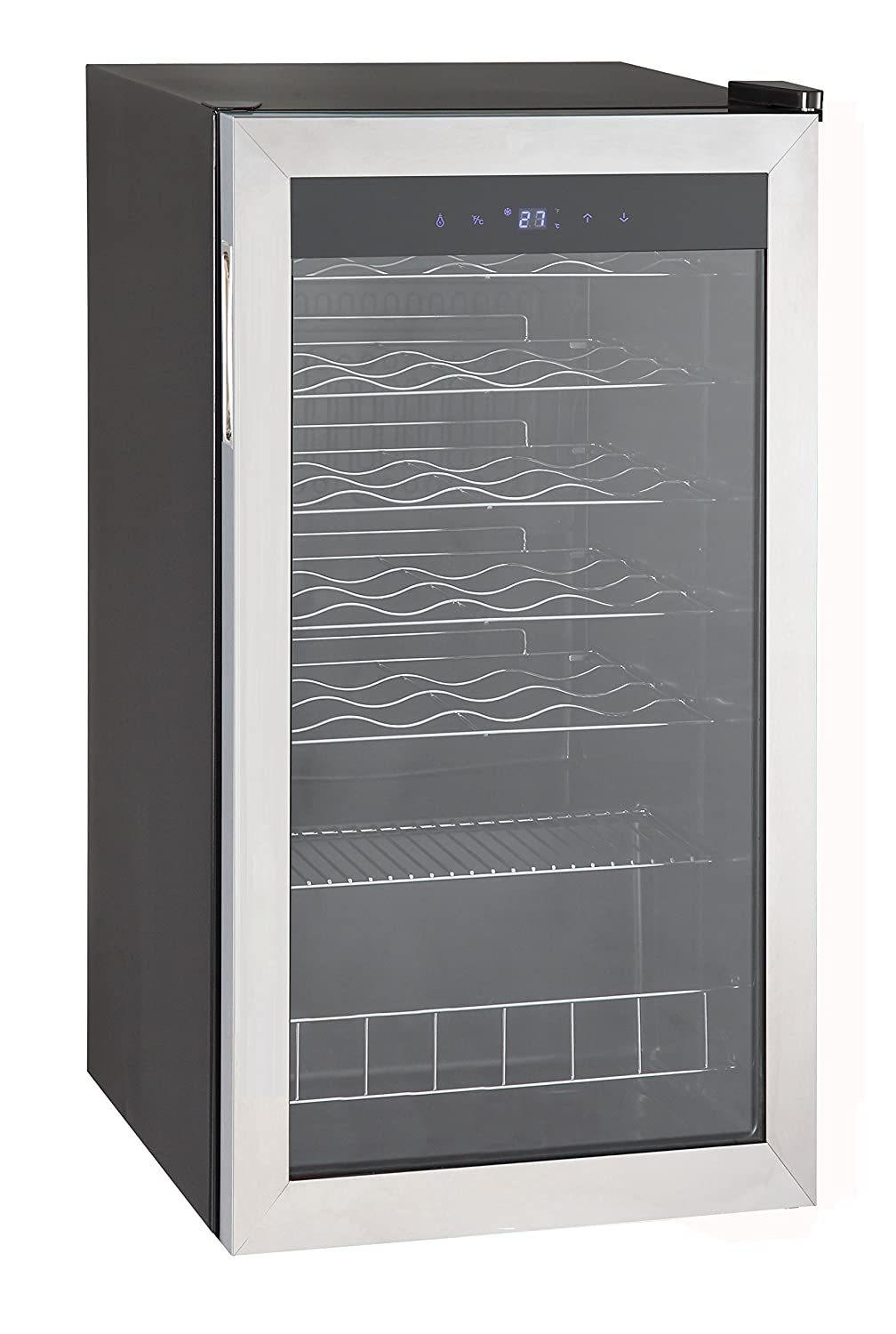 SMETA Wine Cooler 28 Bottle Beer Compressor Refrigerator Freestanding with Stainless Steel Glass Door Champagne Beverage Cellar Chiller Fridge,3.1 cu ft,Black