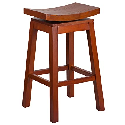 Swell Flash Furniture 30 High Saddle Seat Light Cherry Wood Barstool With Auto Swivel Seat Return Machost Co Dining Chair Design Ideas Machostcouk