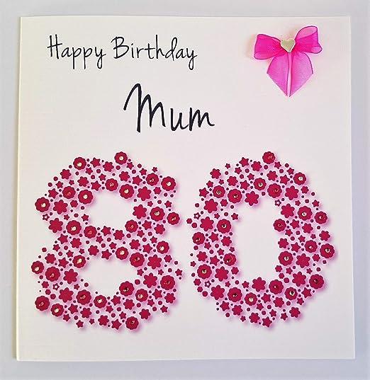 Tarjeta del feliz cumpleaños - mamá 80th rosa brillante ...