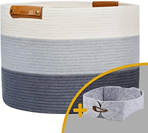 "OLLVIA Extra Large Rope Woven Baskets for Storage with Leather Handles, 20""x 13.3"" Cotton Laundry Basket for Blankets Toys, Decorative Floor Basket, Woven Baby Laundry Basket Living Room Grey Basket"