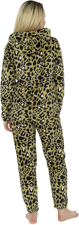 CityComfort Pijama Mujer Invierno, Conjunto de Pijama 2 Piezas Mangas Larga Pantalon Largo, Pijamas Polar Super Suave con Estampado Animal, Rosa, Azul