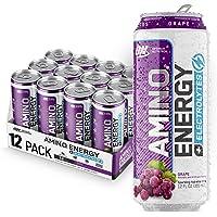 OPTIMUM NUTRITION ESSENTIAL AMINO ENERGY Plus Electrolytes Sparkling Hydration Drink, Grape, Keto Friendly BCAAs, 12…