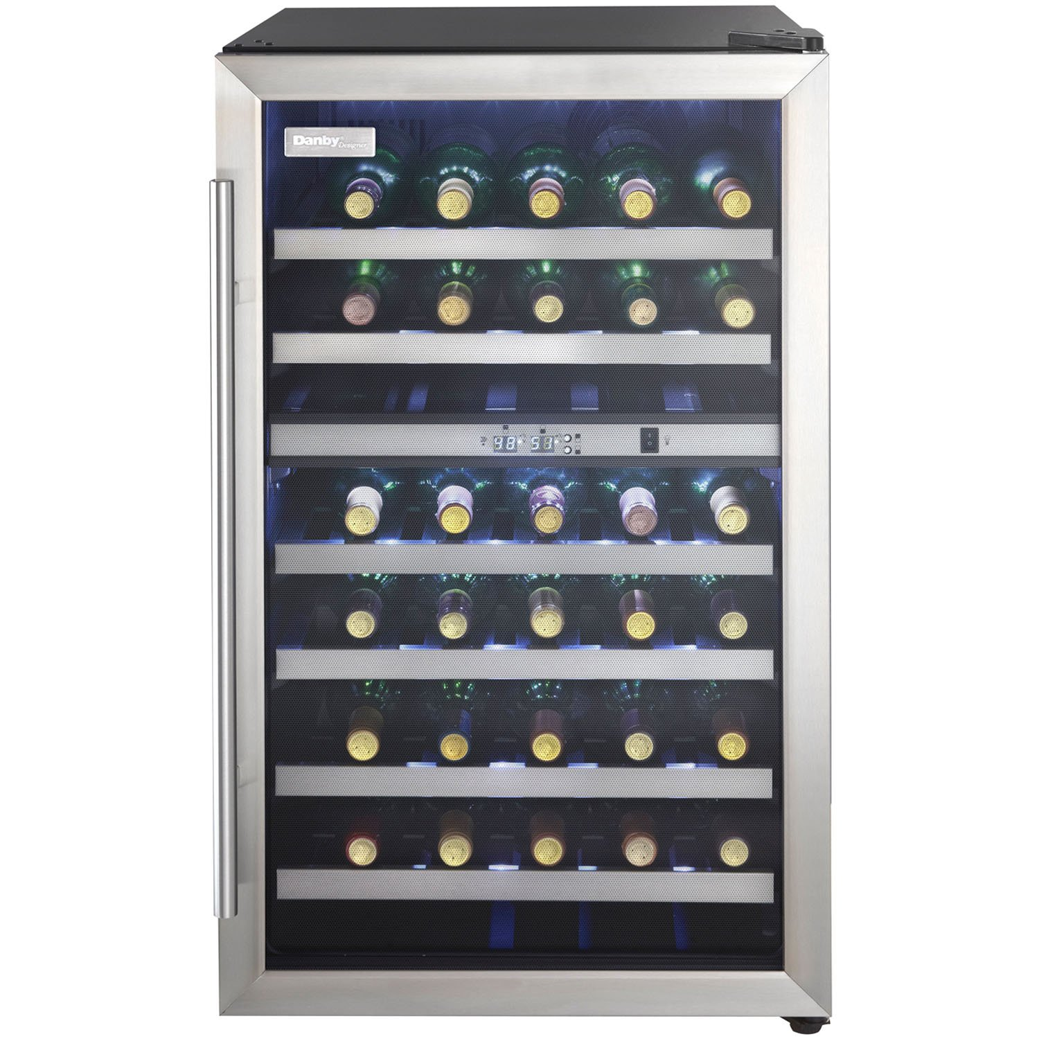 Danby DWC114BLSDD Designer 38-Bottle Dual-Zone Wine Cooler, Black/Stainless Steel/Glass Beverage Center by Danby