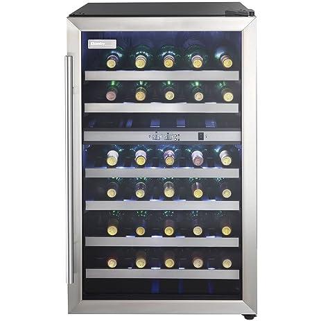 Danby DWC114BLSDD Designer 38-Bottle Dual-Zone Wine Cooler, Black/Stainless  Steel