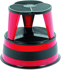 "Cramer 100143 Kik-Step Steel Step Stool, 350 lb cap, 16"" dia. x 14 1/4h, Red"