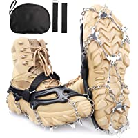 SHEEFLY Crampons Ice Cleats Traction,19 Spikes Snow Grips Ice Grippers Traction Anti-Slip Stainless Steel Spikes for…