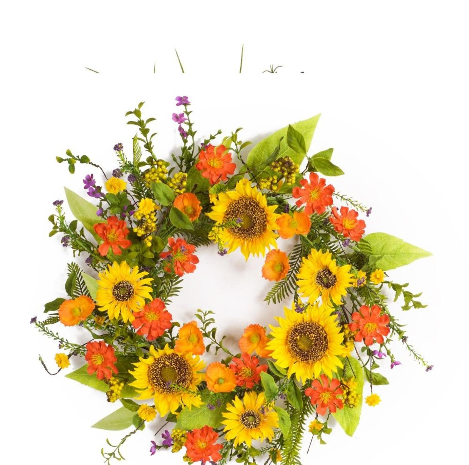 """Melrose Pack of 2 Vibrant Orange and Yellow Summer Artificial Sunflower Wreaths 22"""""""