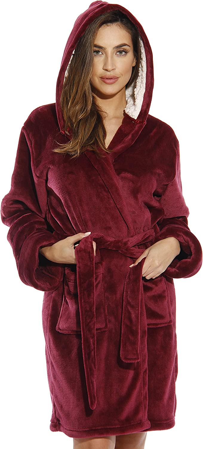 Just Love Hooded Velour Robe for Women with Sherpa Lined Hood