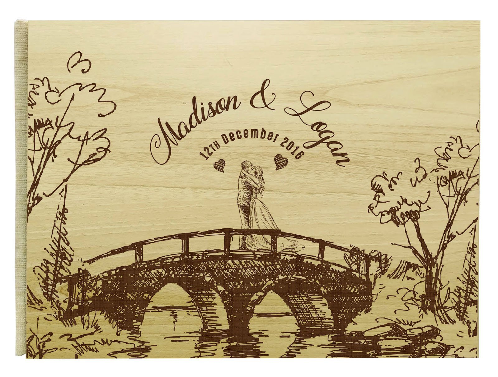 Handmade Personalized Guest Book Rustic Wedding Wood Wooden Engraved Name Advice Book- 50 Pages
