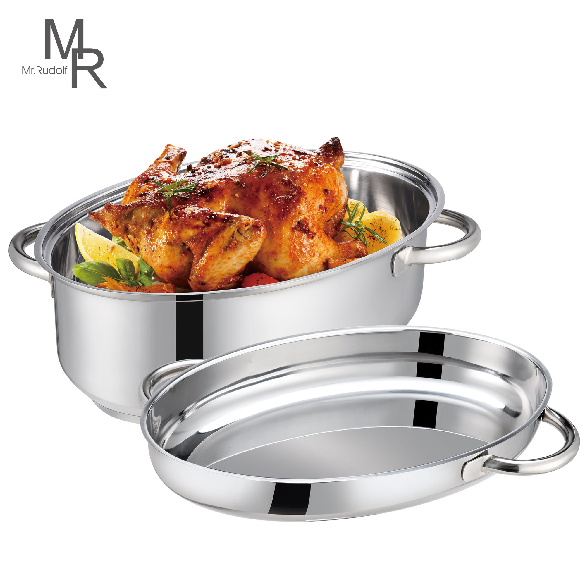 Mr. Rudolf 18/10 Stainless Steel 15-inch Oval Roaster with Rack and Lid Dishwasher Safe Oven Safe Oval Roasting Pan PFOA Free 8.5 Quart + 4.2 Quart by Mr. Rudolf