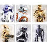 Star Wars Droids Prints - Set of 6 (8 inches x 10 inches) Watercolor Wall Decor Photos - R2D2 C3PO BB8 K-2SO BB-9E Battle Droids