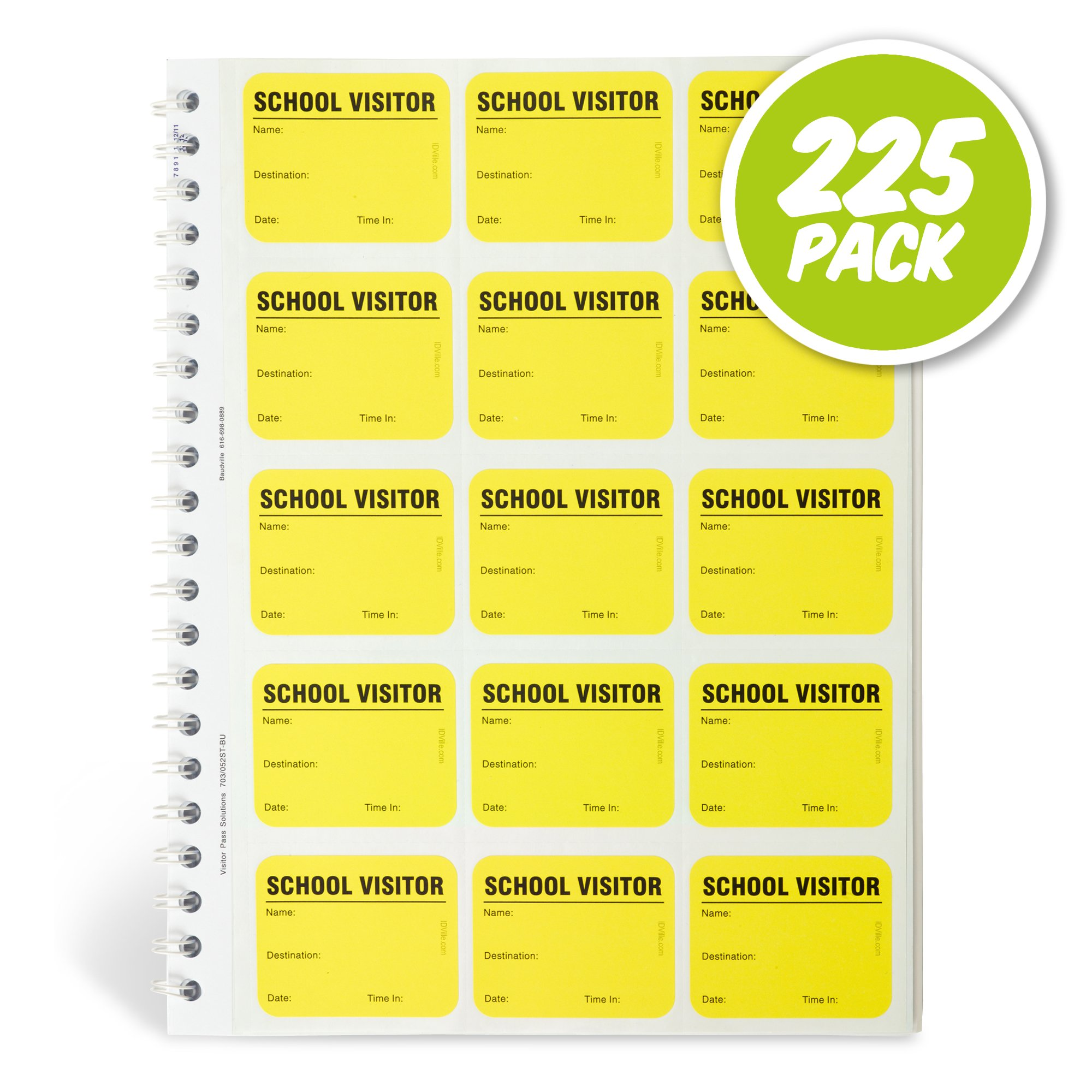Spiral-Bound Temporary School Visitor Login Book with 225 Badges by ID Card Pros
