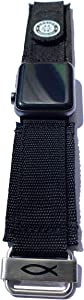 Savior Survival Gear Watch Band Compatible with 42mm and 44mm Apple Watch - Nylon Sports Strap with Stainless Steel buckle (Nylon, Soft, Breathable - Black, Large)