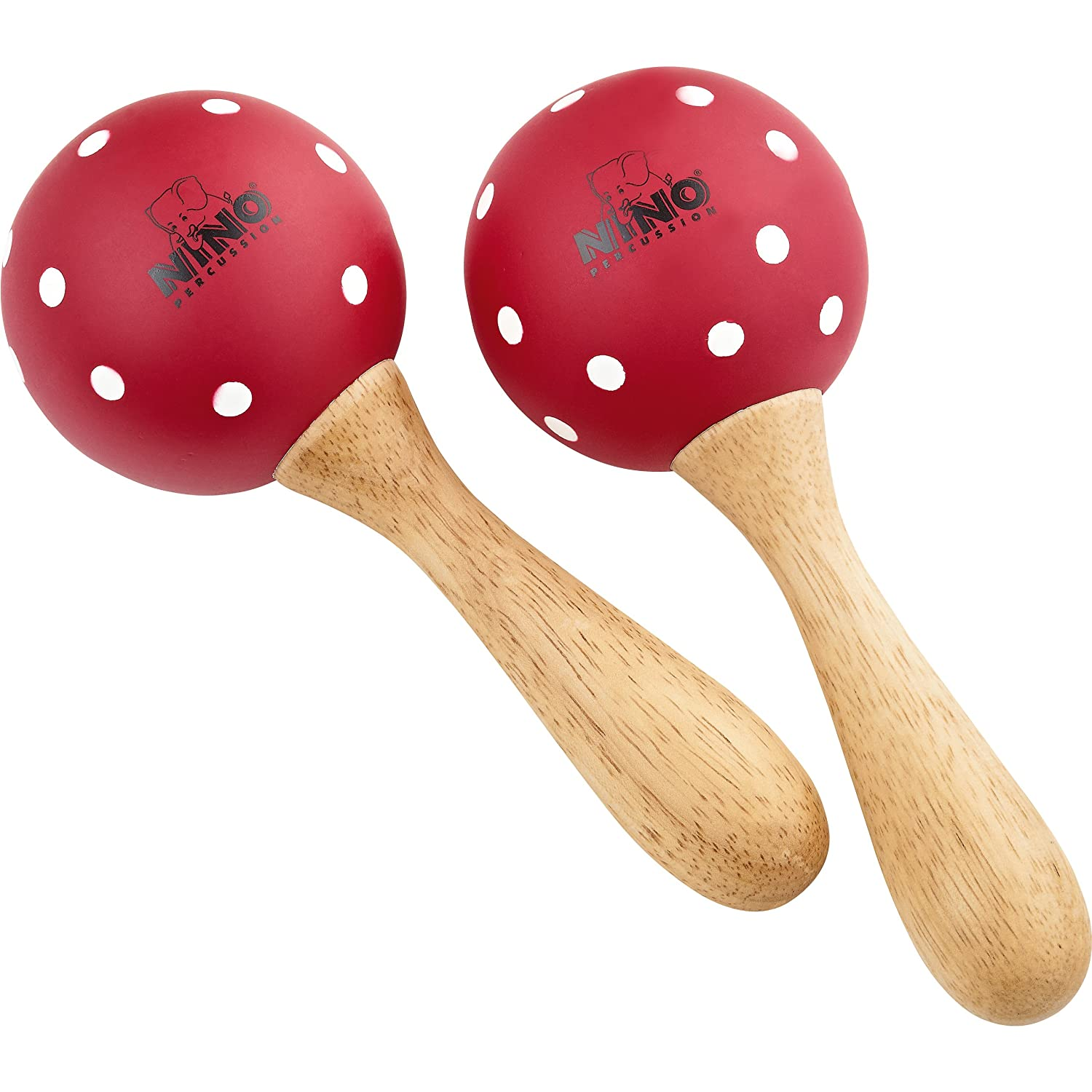 Nino Percussion NINO8PD-R Medium Wood Maracas-Red with White Polka Dots Meinl
