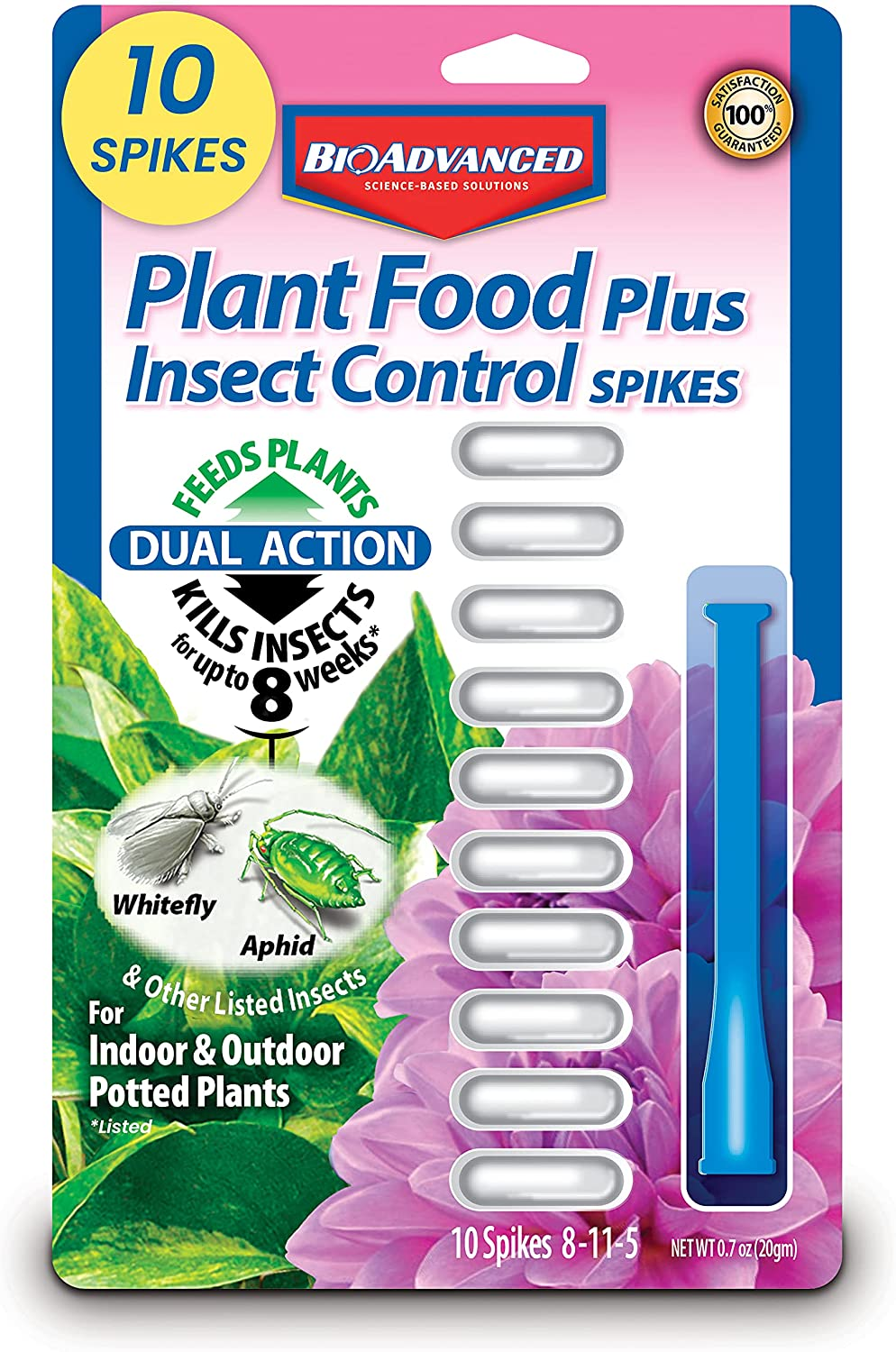 BioAdvanced 701710 8-11-5 Fertilizer with Imidacloprid Plant Food Plus Insect Control Spikes, 10