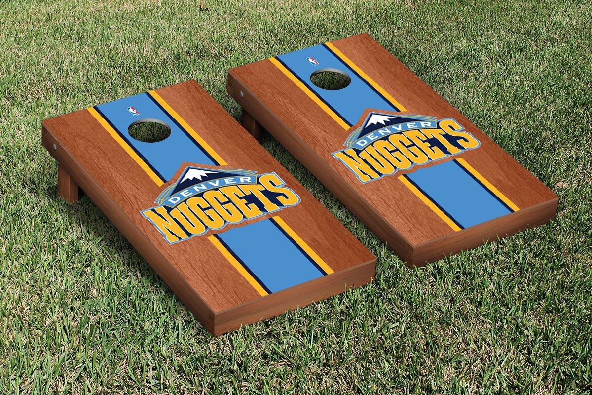 Denver Den Nuggets NBA Basketball Cornhole Game Set Rosewood Stained Stripe Version