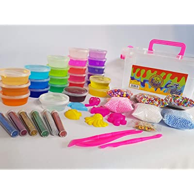 1973f03c0 24 Colours Crystal Slime (Pink) carry/storage box, 6 bags foam beads ...