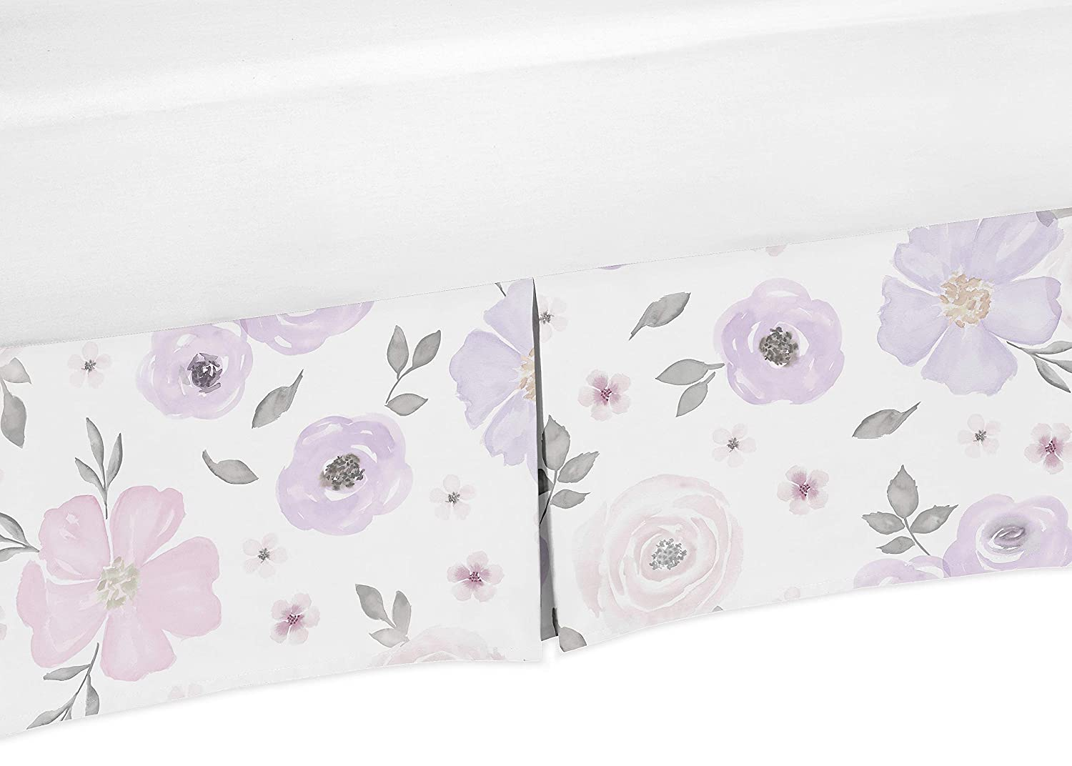 Sweet Jojo Designs Lavender Purple, Pink, Grey and White Girl Pleated Crib Bed Skirt Dust Ruffle for Watercolor Floral Collection - Rose Flower