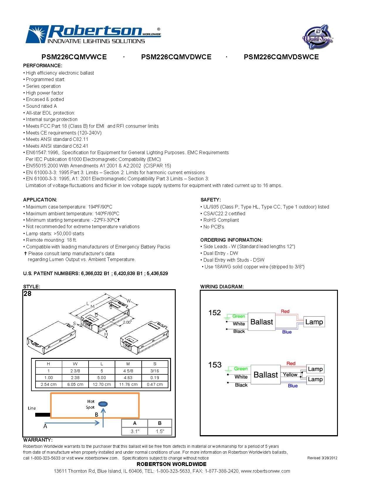 ROBERTSON 3P20157 PSM226CQMVWCE Fluorescent eBallast for 2 CFQ26W/G24q CFL Lamps, Program Start, 120-277Vac, 50-60Hz, Normal Ballast Factor, HPF