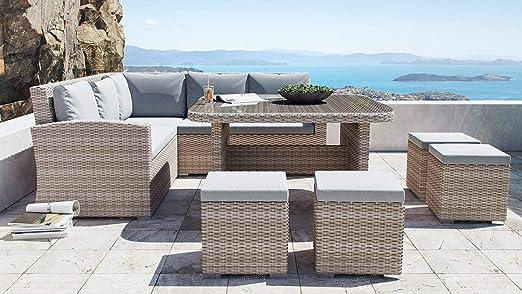 ARTELIA Beach - Conjunto de muebles de jardín de polirratán, esquinas, para jardín, terraza y jardín de invierno, juego de mesa de comedor, muebles de terraza de ratán, color arena: Amazon.es: Jardín