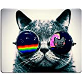 Nyan Cat Glasses Funny Kitten Mouse Pads Customized Made to Order Support Ready 9 7/8 Inch (250mm) X 7 7/8 Inch (200mm) X 1/16 Inch (2mm) High Quality Eco Friendly Cloth with Neoprene Rubber Luxlady Mouse Pad Desktop Mousepad Laptop Mousepads Comfortable Computer Mouse Mat Cute Gaming Mouse pad