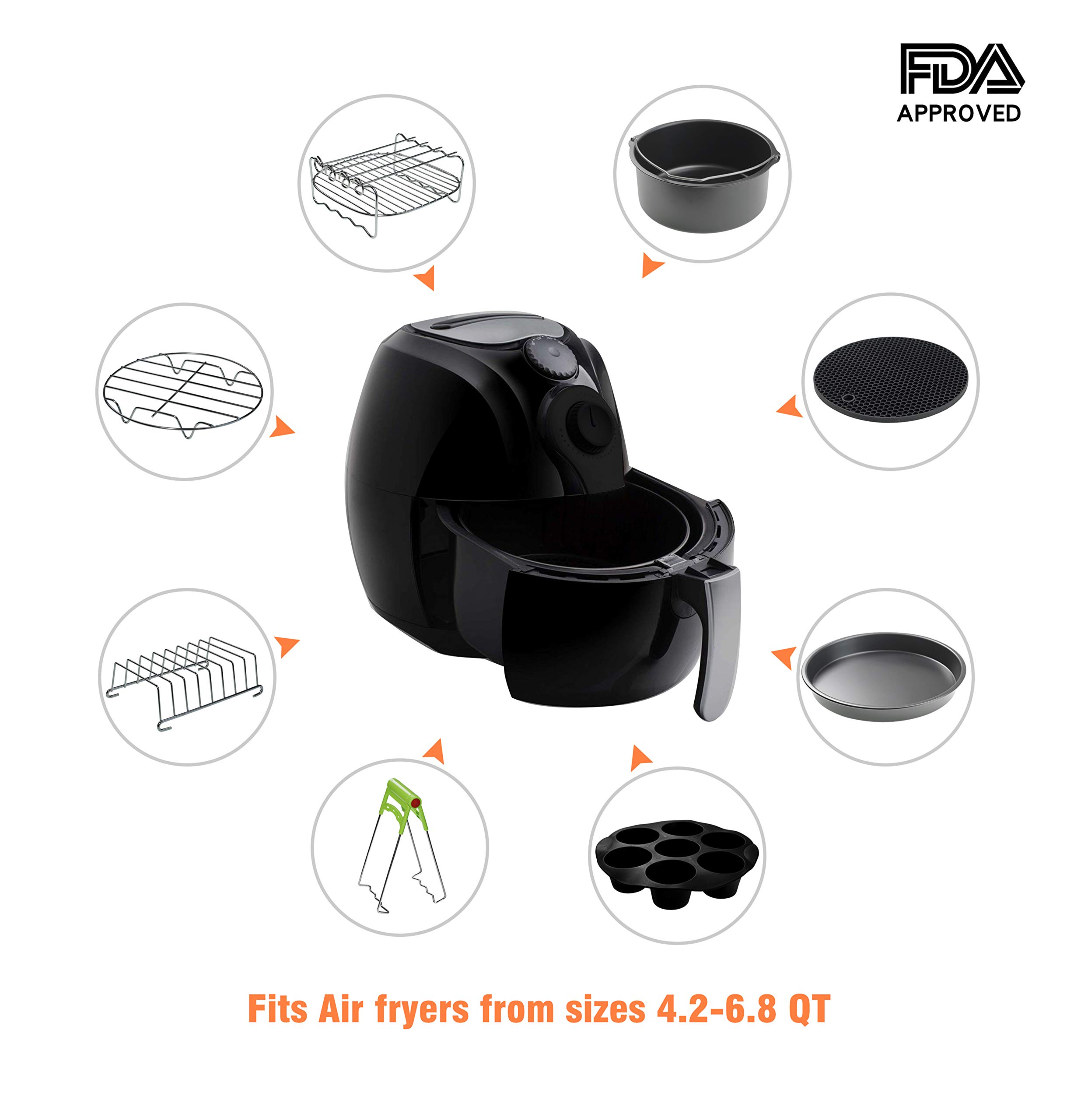 CAXXA XL Air Fryer Accessories Compatible with Gowise, Cozyna and Phillips, Fit all 4.2QT - 6.8QT and UP (Deluxe Set Of 9) by CAXXA (Image #4)