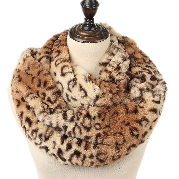 ad6fd9cc67 La Carrie Womens Faux Fur Leopard Print Infinity Scarf Loop Circle Neck  Warmer(Brown Leopard